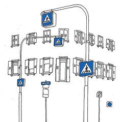 Sophienstrasse-Leopoldstrasse, Karlsruhe, December 2017 (stevefaradaysketches) Tags: signs roadsigns pedestriancrossing urbansketch inkdrawing stevefaraday karlsruhe