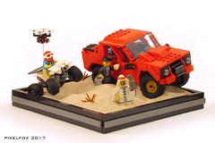 Lamborghini LM002 (Pixel Fox) Tags: lambo lamborghini lm002 offroad 4x4 diorama lego quad bike drone