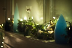 Creative holiday mantle with candles and shells. (DeepDiveDeepBlue) Tags: bokeh mantle wreath lights holiday christmas candles
