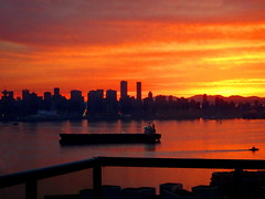 An Autumn Vancouver Sunset Series (+3) (peggyhr) Tags: peggyhr sunset harbour skyline orange mauve yellow black silhouettes autumn dsc04829ab vancouver bc canada ships railing thegalaxy thelooklevel1red thelooklevel2yellow
