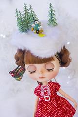 dreaming of a white christmas... (JennWrenn) Tags: blythe doll custom joanagentiana redhead christmasinaustralia fakesnow tiny skier marjorie