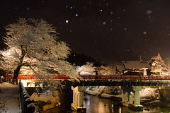 winter night (k n u l p) Tags: takayama old city night light winter snow bridge gifu japan sony nex7 sel1670z 1670mm 岐阜 高山