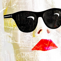 shades of girl in the city (Hal Halli....happy everything!!) Tags: girl city urban shades sunglasses poster wallart woman face sharingart