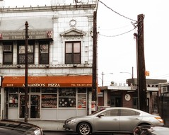 A slice of Sicilian to go, as you run to catch the L Train. (Fotofricassee) Tags: pizza sicilian slice rockaway parkway subway but
