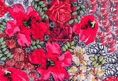 Red flowers 7 by Liz Steveson - photo Bob Green (Bob Green 52) Tags: lizsteveson artwork wall hanging wallhanging adelaide australia needle work