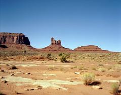 In Search of The Great Western Landscape (Scott Holcomb) Tags: monumentvalleynavajotribalpark navajonation arizona asahipentax6x7 smcpentax671445mmlens zenzabronica82mml1afilter kodakektar100film 120film mediumformat 6x7 epsonperfectionv600 photoshopdigitalization