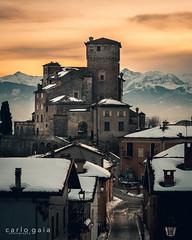 The Castle at Sunset (carlogaia) Tags: castle sunset alps alpi langhe altalanga snow borgo