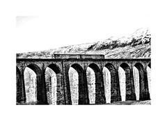 Passing over (CJS*64) Tags: ribblehead ribbleheadviaduct viaduct arches train loco blackwhite bw blackandwhite whiteblack whiteandblack mono monochrome cjs64 craigsunter cjs