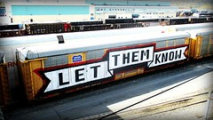 let them know (timetomakethepasta) Tags: let them know wholecar union pacific autorack freight train graffiti art benching selkirk new york