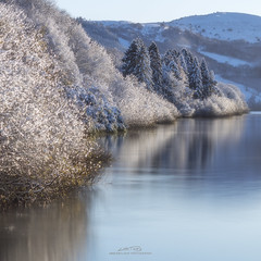 Winter Reflection (AMBIENTLIGHT.PHOTOGRAPHY) Tags: lake idyllic scenery scenic landscape talybontreservoir brecon breconbeacons southwales wales uk britain reservoir firtrees trees snow winter december winterscene
