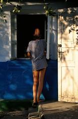 DSC_6556 (klakeduker) Tags: girl feet summer village vacation august world evening sunset house window strips vest portrait youth