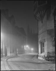 our favourite corner (steve-jack) Tags: sinar p 90mm ilford delta 100 expired 5x4 4x5 large format cambridge fog night tilt trinity lane film epson v500 clarecollege kingscollegechapel id11