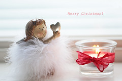 Happy Holidays! (eleni m) Tags: happy holidays christmas merry quote indoor angel heart wish candle tealight ribbon red wishes glass flame fairy smileonsaturday angelsonearth