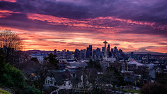Your Sky is Winter Fire (matthucke) Tags: seattle sunrise mountrainier rainier skyline spaceneedle lenticularclouds kerrypark