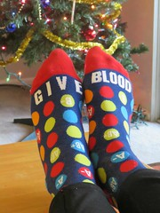 Give Blood (moonjazz) Tags: blood doner socks humor color warm funny giving life red pockadots message holiday medical volunteer feet cheerful photo fun donations helping words type a b letters