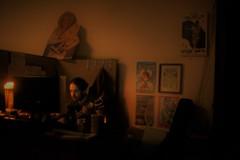 Quick Candid 1043 (Dimi Sahn) Tags: candid dark desk office monitor light vivitar 28mm f28