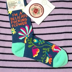 And Don't You Forget It (Georgie_grrl) Tags: socks patch delicateflower dammit kickass gift giftcardfrommichael thankyou outerlayer awesomestore fun humour ireallyamiswear