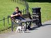 Showing off the dog (Antropoturista) Tags: uk london stokenewington dog man bench park bin mobile streetshots people clissoldpark