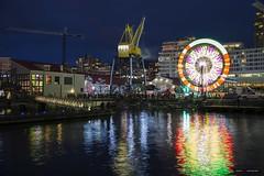 The Colours Of The Night [Explored] (Clayton Perry Photoworks) Tags: vancouver bc canada northvancouver explorebc explorecanada ferriswheel shipyard skyline night lights explored