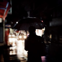 the streets were dark with something more than night (2) (tabiwallah) Tags: iphoneography iphone8plus iphone yanesen yanaka tokyo hipstamatic noir umbrella rain night mood square squareformat streetphotography street