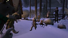 So who the hell are you? (alexandriabrangwin) Tags: alexandriabrangwin secondlife 3d cgi computer graphics virtual world photography tiny village furry people small characters bombastic women explorer adventurer found out talking animals winter story time fox rabbit bear wheelbarrow house cottage fur lined collar coat guns pistols holster snow christmas lights trees forest