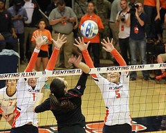 Over the block (RPahre) Tags: illinois illini volleyball champaign huff huffhall universityofillinois stanford stanforduniversity swing block michaelakeefe jordynpoulter alibastianelli copyrighted robertpahrephotography donotusewithoutpermission