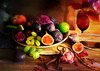 Sunday festivity. SS (BirgittaSjostedt) Tags: fruit stilllife still rose flower plate plum figs grapes peach seeds health healthy food dessert breakfast snack life sliderssunday birgittasjostedt texture paint