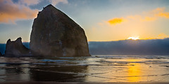 A Haystack and a Sunset (WestEndFoto) Tags: agenre flickrtraveloregoncoast natural mfnikkor50mmf12ais us seascapephotography bsubject flickr flickrwestendfoto northcoast oregon flickrjeffpj travel flickrtravelbywestendfoto scape usa queueparkepnextinline ocean cannonbeach naturephotography dgeography fother unitedstates