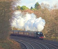 Five To Salisbury (Deepgreen2009) Tags: railway surrey salisbury ashford steam uksteam blackfive lms 45212 heathland pirbright winter sunshine
