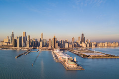 Good Morning Chicago (jeff_a_goldberg) Tags: navypier aerialphotography willistower drone sunrise dji mavic trumptower chicago skyline ferriswheel hancocktower winter djimavicpro mavicpro lakemichigan illinois unitedstates us