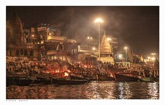 The Ganges by night. The Burning Ghat, Varanasi, India, seen from the Ganges  by night. (Richard Murrin Art) Tags: thegangesbynighttheburningghat varanasi india seenfromthegangesbynight richard murrin art photography canon 5d landscape travel images building cool