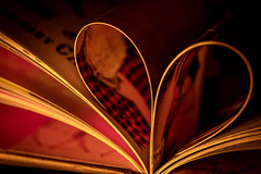 Candlelight and a good book (judi may) Tags: macromonday macro macromondays book litbycandlelight litbycandles candlepower lowkey lowlight heart bookheart closeup bookpages tabletopphotography filledframe canon7d dof depthoffield bokeh abstract stilllife