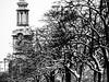 schnow (seidchr) Tags: sky winter church europe tower tree black white snow germany bnw hamburg clock deutschland allee main station