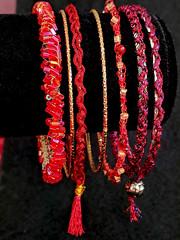 Solstice Bangles red set vert 800w (vashtirama) Tags: designingvashti crochetjewelry bangle crochetbracelet coveredring beaded beads