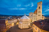 Piazza del Duomo (Michael Abid) Tags: florence duomo skyline night firenze italy dome cathedral aerial panorama landmark tower famous campanile basilica santamariadelflore saintmary baptistery giotto church city architecture tuscany blue sky historic history old view panoramic sunset