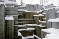 Snow at Freeway Park, circa 1980 (Seattle Municipal Archives) Tags: seattlemunicipalarchives seattle parks snow 1980s firsthill downtownseattle