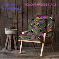 CHAIR TOUCAN COLLECTION  by PAYSMAGE (paysmage) Tags: fabric pays paysmage spoonflower design designers designer decoration mockup birds jungle chair cushion armchair fabrics tropical exotic livingroom salon fauteuil bird sewing stiching upholstery diy craft crafter crafts stripes