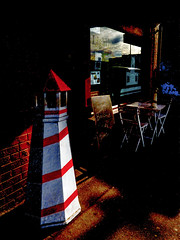 The Lighthouse Cafe (Steve Taylor (Photography)) Tags: lighthouse cafe blackboard art digital sign logo table tableandchairs newzealand nz southisland canterbury christchurch newbrighton