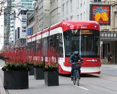 Red line (BruceK) Tags: toronto ttc streetcar kingstreet bicycle bicycling bicyclist