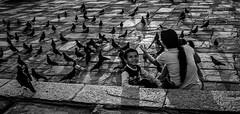 (negrominay) Tags: lima perú travel city ciudad basílica iglesia church kid child niño madre mom square plaza palomas doves bw bn blackandwhite blancoynegro mono monocromo monocromático monochrome monochromatic canon canoneos7d ef28135mmf3556isusm 28mm
