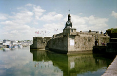 Concarneau reflections (catb -) Tags: 1999 france town tower clock reflections brittany wall