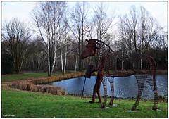 Ross und Reiter (rasafo66) Tags: buisnessparkasterlagen businessparkniederrhein duisburg duisburgrheinhausen nrw nordrheinwestfalen deutschland germany bluesky blauerhimmel kunst skulpturen skulptur sonyalpha58 tamron1750
