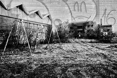 Abandoned Schools (mns_mike) Tags: a6000 street school gary old abandoned bw indiana doubleexposure 2017
