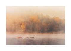Three in a Row (Vemsteroo) Tags: peakdistrict peaks thepeaks boats rowingboat lake reservoir ladybower autumn trees water mist fog misty ethereal atmospheric travel sunrise morning fall canon 5d mkiv 100400mm nature outdoors