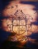 The Devils' Pride (Crest detail) (theartistbeforeyou) Tags: art chair devil airbrush wood stain desk school fantasy spray spraypaint mixedmedia hinsdalecentral paint burn woodwork refuz visualartist artist red yellow orange warmcolors newspaper resin space satanic achairaffair seat creative charity donate help