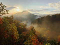 7658eps2 misty sunrise (jjjj56cp) Tags: sunrise mist misty fog foggy gsm greatsmokymountains tn tennessee morning daybreak dawn autumn fall colors foliage colorfulfoliage view vista iphone jennypansing november mountains clouds sky landscape
