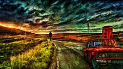 out alone (sw2018) Tags: dexign photoshop art colour blend paint red blue green tamron stevewilkinson old car