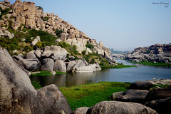 This sight of Tungabhadra flowing between Hampi rocks is so pleasing!   #Nikon #nikonasia #Hampi #Karnataka #KarnatakaTourism #IncredibleIndia (Srinivas Ksheerasagara) Tags: nikon nikonasia karnatakatourism karnataka incredibleindia hampi