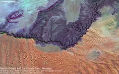 Namib Desert and Kuiseb River, Namibia (Jorge Ginés) Tags: namibia satellite remotesensing namib kuiseb earth geology dunes sand red blue purple river green geography africa sentinel2