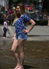In Standing Water (swong95765) Tags: female woman lady posing water pretty cute shorts